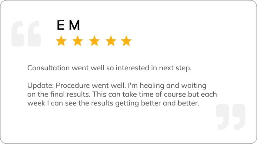Patient testimonial from E M