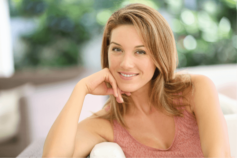 A young woman with beautiful skin after a chemical peel
